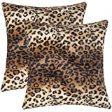 CARRIE HOME Soft Plush Leopard Print Faux Fur Decorative Throw Pillow Covers for Home Couch Sofa, Fabric, Set of 2, 18x18 Inc