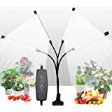 Grow Light for Indoor Plants, Upgraded 4 Heads 168 LEDs Full Spectrum Sunlike White Plant Lights with 4/8/12H Timer, 5 Dimmab