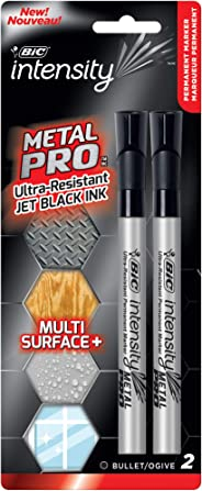 BIC Intensity Permanent Metal Pro Marker - Pack of 2 Markers – Bullet Tip, Fade and Water Resistant, Quick Dry Ink for Any S