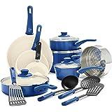GreenLife Soft Grip 16 Piece Ceramic Non-Stick Cookware Set, Blue