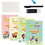 kelebin Magic Practice Copybook Set Magic Calligraphy That Can Be Reused English Tracing Book Number Tracing Book for Prescho