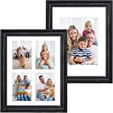 Hap Tim 11x14 Picture Frame Black Wood Pattern Set of 2 with 2 Mats,Display 8x10 or Four 4x6 Photos with Mat,11x14 Picture Wi