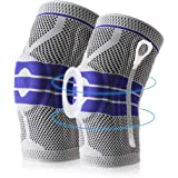 Knee Brace Compression Sleeve, Elastic Knee Wraps Patella Stabilizer with Silicone Gel Spring Support, Hinged Kneepads Protec