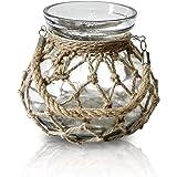 Funsoba Rustic Hanging Creative Rope Net Dry Flower Glass Vase with Handle Cancel Holder (Medium 1 pcs)