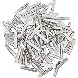 Baoblaze 100 Pieces Silver Blank Hair Slides Clip Bows Hair Pin Barrette Duckbill Alligator Barrette Hair Clip Blanks Finding