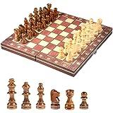 国際チェスセット玩具 チェス盤 木製 携帯型 マグネット 折りたたむボード ポータブル子供 旅行 家庭 娯楽 エンターテ…