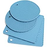 Premium Silicone Trivet Mats | Trivets for Hot Pots and Pans, Drying Mat, Hot Pads | silicone pot holder for Jar Opener, Spoo