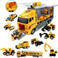Coolplay 11 in 1 Die-cast Construction Vehicle Mini Engineering Truck Toy Set in Carrier Truck Playset for Boys, Mini Dumper,