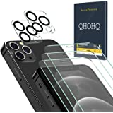 QHOHQ 3 Pack Screen Protector for iPhone 12 Pro 5G [6.1 Inch] with 2 Packs Tempered Glass Camera Lens Protector,Tempered Glas