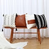GALMAXS7 Boho Throw Pillow Covers 18 x 18 Set of 4 - Modern Stripe Geometric Farmhouse Decorative Pillow Cover Sets for Pillo