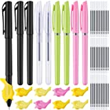 96 Pieces Disappearing Ink Pen Magic Practice Pen, Disappear Magic Ballpoint 8 Pen Holders with 80 Refills Auto Reusable Pens