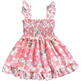 YOUNGER TREE Infant Summer Outfits Toddler Baby Girl Floral Dress Ruffle Strap Sleeveless Tutu Dress Beachwear Boho Sundress
