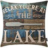 TRENDIN Throw Pillow Case Lake House Relax Cotton Linen Square Cushion Cover Standard Pillowcase for Sofa Armchair 18 x 18 in