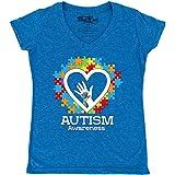 shop4ever Autism Awareness Hands in Heart Women's V-Neck T-Shirt Slim Fit