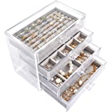 Mebbay Acrylic Jewelry Box with 4 Drawers, Velvet Jewelry Organizer for Earring Necklace Ring & Bracelet, Clear Jewelry Displ