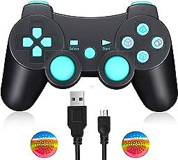 Connyam PS3 ワイヤレスコントローラー DUALSHOCK3(6軸) playstation 3 コントローラー ダブル振動対応 360度に動きスディックボタン USBケーブル付け (blue)