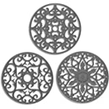 ME.FAN 3 Set Silicone Multi-Use Intricately Carved Trivet Mat - Insulated Flexible Durable Non Slip Coasters (Gary)