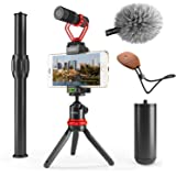 Movo VXR10+ Smartphone Video Rig with Mini Tripod, Phone Grip, and Video Microphone Compatible with iPhone 11, 11 Pro, XS, XR