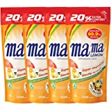 Mama Lemon Dishwashing Liquid Refill, Anti-Bacterial, Citrus, 600ml (Pack of 4)