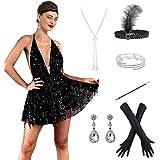 POKERGODZ 1920s Gatsby Sequin Beads Long Fringe Flapper Sleeves Plus Dress w/ 20s Accessories