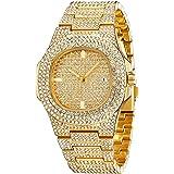 2cm Hip Hop Men Bracelets Gold&Sliver Color Iced Out Crystal Gold Silver Men Watch +Bracelet Set Hip Hop King New