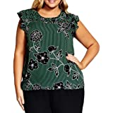 City Chic Women's Apparel Women's Plus Size Ruffle Cap Sleeved Floral Strip Printed top, Varsity