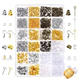 Paxcoo 2400Pcs Earring Making Supplies Kit with 24 Style Earring Hooks Earring Backs Earrings Posts and Earring Making Findin
