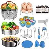 Instant Pot Accessories Set Fits Instant pot 6,8 Qt - 15pcs Pressure Cooker Accessories, Springform Pan, Egg Steamer Rack, Si