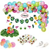 119pcs Hawaiian Party Decorations, Leyzan Premium Luau Party Supplies, Aloha Flamingo Pineapple Banner, Leaves, Hibiscus Flow