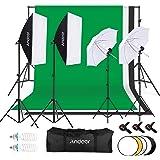 Andoer プロな写真撮影ソフトボックス照明キット 50*70cmソフトボックス 背景スタンド 135W電球 白いソフト傘 ライトスタンド 1.8M*2.8M背景布(黒、白、緑) キャリングバッグ付き スタジオ撮影、ポートレート撮影、インタビュー、