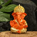 CraftVatika Gold Plated Red Terracotta Ganesha Statue God Ganesh Ganpati Sitting Idol Car Dashboard Gifts Home Decor (Size 3.