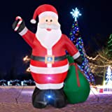 Christmas Inflatables Giant 12 Foot Inflatable Santa Claus with Gift Bag With LED Light for Christmas Yard Decoration Indoor