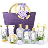 Spa Luxetique Gift Baskets for Women, Spa Gifts for Women - 10pcs Lavender Bath and Body Gift Set with Bath Bomb, Body Lotion