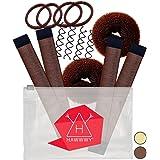 Hawwwy 12-piece Hair Bun Maker, Easy & Fast Small Bun Tool Best Sellers Kit Short or Thin Hair Women Girls Kids Toddler Perfe