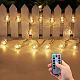 Lezoey Battery Operated String Lights Indoor Outdoor 33Fft 80leds Crystal Globe Led Fairy Lights with Remote Control for Bedr