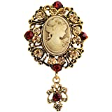 JJTZX Victorian Black Velvet Lace Cameo Choker Gothic Lady Cameo Necklace&Brooch Pin Gift for Her