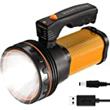ROMER LED Rechargeable Handheld Searchlight High-Power Super Bright 9000 MA 6000 LUMENS CREE Tactical Spotlight Torch Lantern