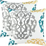 Pack of 2 CaliTime Cotton Throw Pillow Cases Covers for Bed Couch Sofa Vintage Compass Geometric Floral Embroidered 18 X 18 I