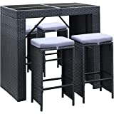 Gardeon 6 Piece Outdoor Dining Furniture Set Rattan Wicker Bar Table Stool-Black