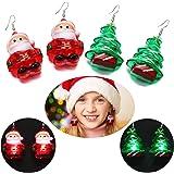 Aniwon Cute LED Christmas Earrings, 2PCS Fashion Christmas Tree Santa Claus Drop Earrings for Women Kids Girls Light Up Earri