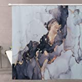 Luxury Abstract Fabric Shower Curtain - RoomTalks Modern Black and Gold Marble Art Painting Bathroom Shower Curtain Sets Ink