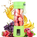 380ml USB Six Blades in 3D Mini Electric Juicer Cup, Portable Juice Blender, Household Fruit Mixer (Green)
