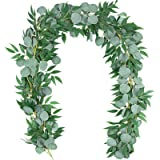 TOPHOUSE 2 Packs 6.2 Feet Artificial Silver Dollar Eucalyptus Leaves Garland with Willow Vines Twigs Leaves String for Doorwa
