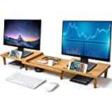 Pezin & Hulin Bamboo Dual Monitor Stand Riser for Desk Organizer, Adjustable Length and Angle Multi(1/2/3) Screen Stand, Offi