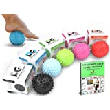 Physix Gear Massage Balls - Spiky or Lacrosse Ball Roller Set for Plantar Fasciitis, Trigger Points Neck & Back Pain Relief -