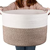 """YEESON Cotton Rope Storage Basket 21.7"""" x 21.7"""" x 13.8"""", Woven Rope Laundry Storage Basket, Blanket Organizer Basket with Han"""