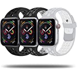JuQBanke Sport Bands 3 Pack Compatible for Apple Watch Band 38mm 40mm 42mm 44mm, Soft Silicone Sport Replacement Wristband Co