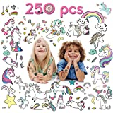 VCOSTORE Temporary Unicorn Tattoos for Kids, 20 Sheets 250 Assorted Unicorn Pattern Tattoos - Party Favor / Fun Gifts / Theme