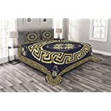 Ambesonne Greek Key Bedspread, Meander with Spring Inspired Floral Detail Rich and Retro Entangled Maze, Decorative Quilted 3