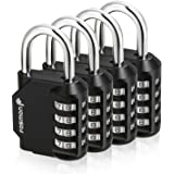 Fosmon Combination Lock (4 Pack) 4 Digit Combination Padlock with Alloy Body for School, Gym Locker, Gate, Bike Lock, Hasp an
